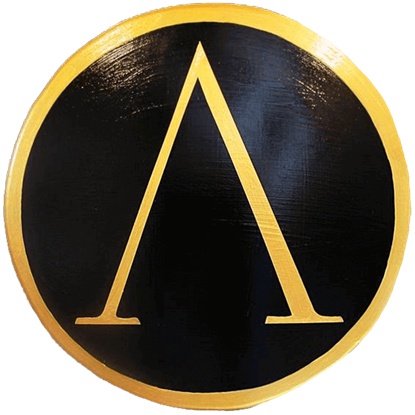 Wooden Gold Greek Lambda Shield