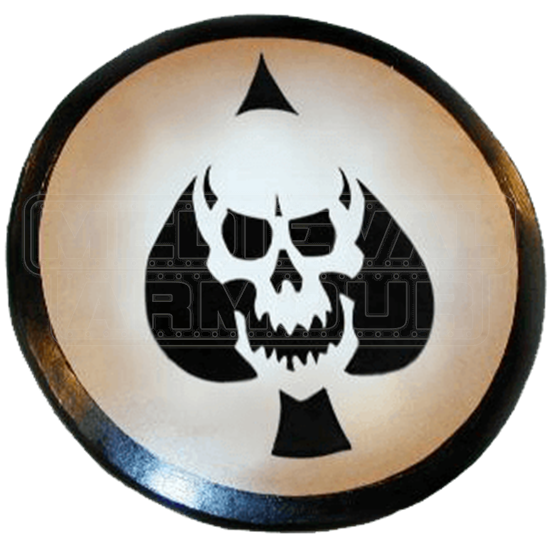 Wooden Skull Of Spades Shield