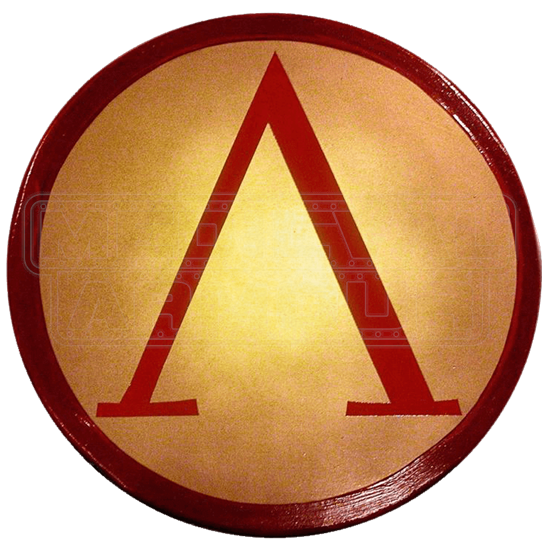 Wooden Red And Gold Lambda Shield