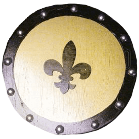 Wooden Gold Fleur De Lis Buckler Shield