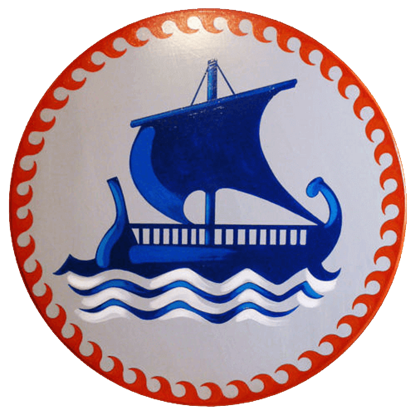Round Greek Sailing Ship Wooden Shield