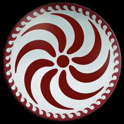 Wooden Round Greek Red Spiral Shield