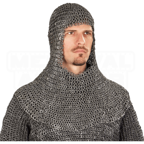 Riveted Dark Aluminum Chainmail Coif