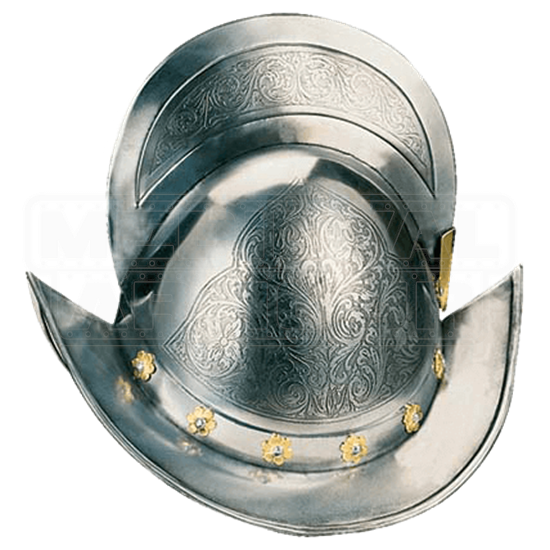 Gold Engraved Spanish Round Morion Helm by Marto
