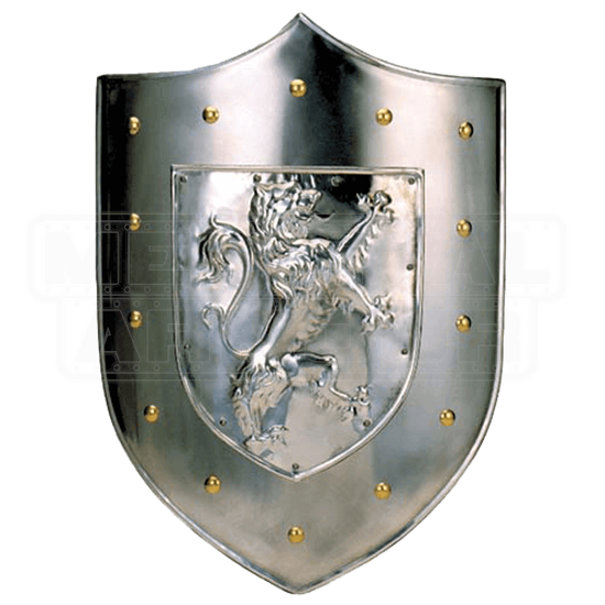 Plain Steel Rampant Lion Shield by Marto