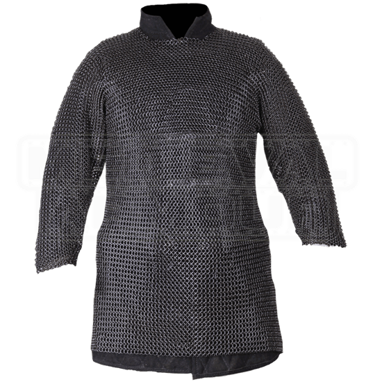 Berengar Long Sleeve Blackened Chainmail Hauberk