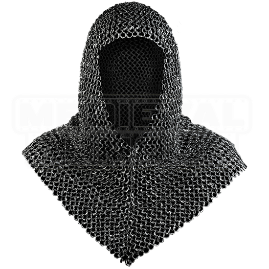 Richard Riveted Blackened Chainmail Coif