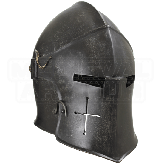 Epic Dark Visored Barbuta Helmet