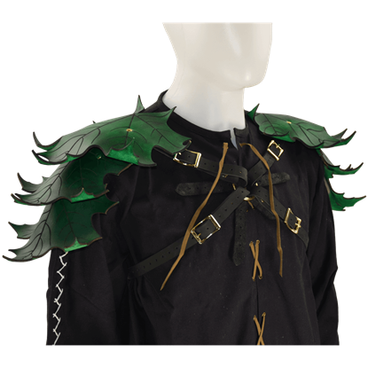 Elven Leaf Leather Pauldron Harness