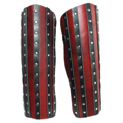 Banded Leather Greaves - 13/15 oz.