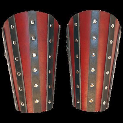 Banded Leather Arm Bracers - 7/8 oz.