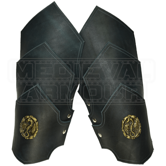 Dueling Dragons Leather Bracers