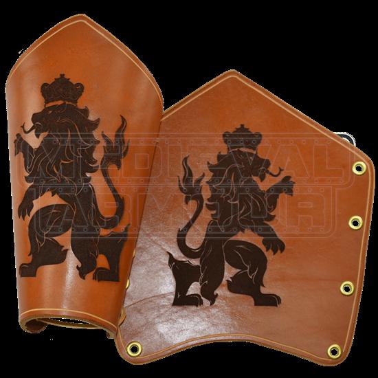 Rampant Lion Leather Bracers