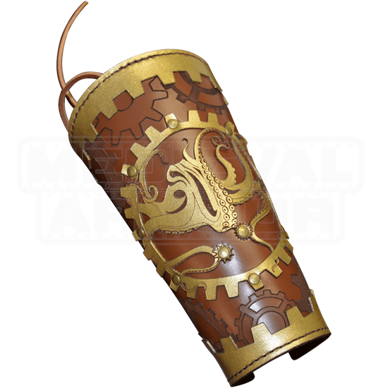 Steampunk Leather Arm Bracer with Octopus and Gears