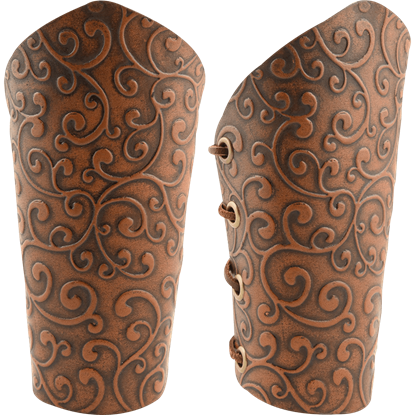 Elven Brown Green Leather Bracers Larp Medieval Arm Armor SCA Cosplay Pirate