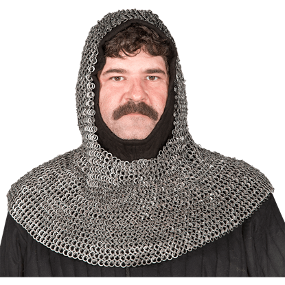 Round Ring Round Riveted Chainmail Coif