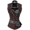 Steampunk Brown Brocade Overbust Corset with Detachable Jacket