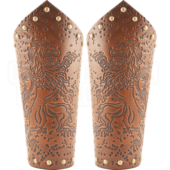 Rampant Lion Leather Arm Bracers