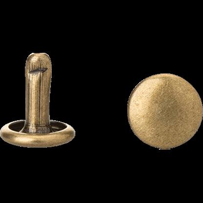 Double Cap Rivets - Antique Brass - 1/4 Inch - 100 Pack