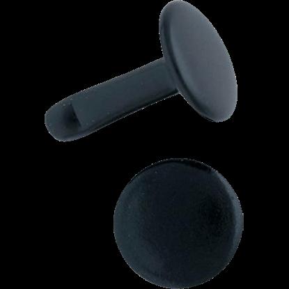 Double Cap Rivets - Black - 1/4 Inch - 100 Pack