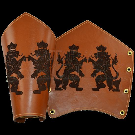 Regal Lions Leather Arm Bracers