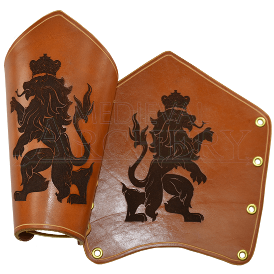Rampant Lion Leather Bracers