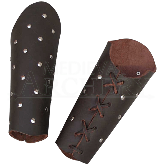 Studded Brown Leather Arm Bracers