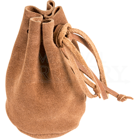 Brown Leather Drawstring Pouch