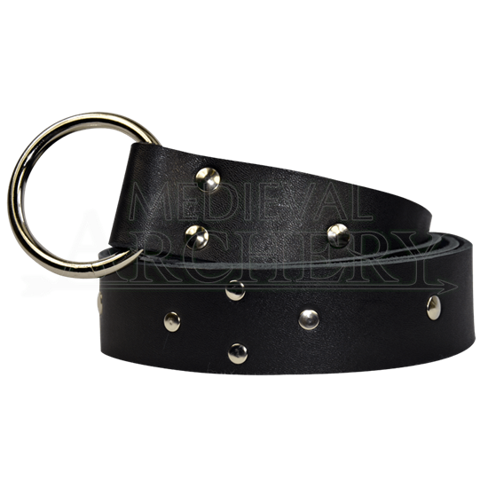 Studded Diamond Pattern Ring Belt