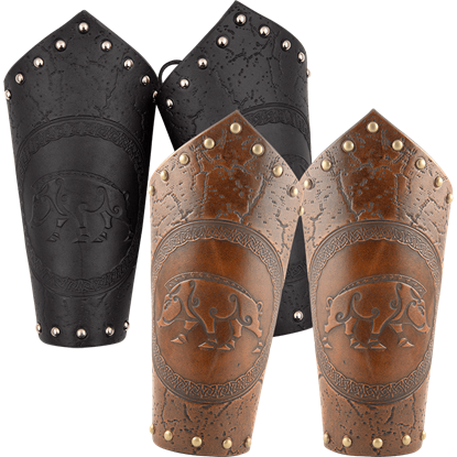Celtic Boar Leather Arm Bracers