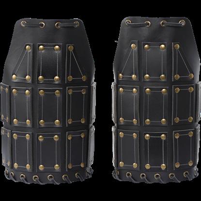 Bohemond Leather Pauldrons - Black