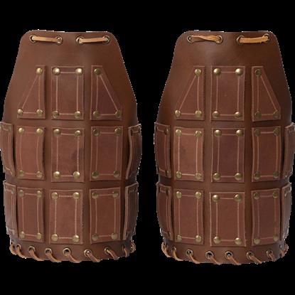 Bohemond Leather Pauldrons - Brown