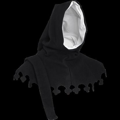 Wool Medieval Liripipe Hood - Black