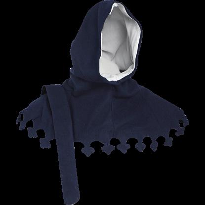 Wool Medieval Liripipe Hood - Blue