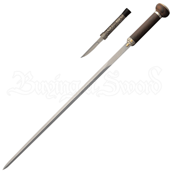 Damascus Taiji Sword Cane with Knife