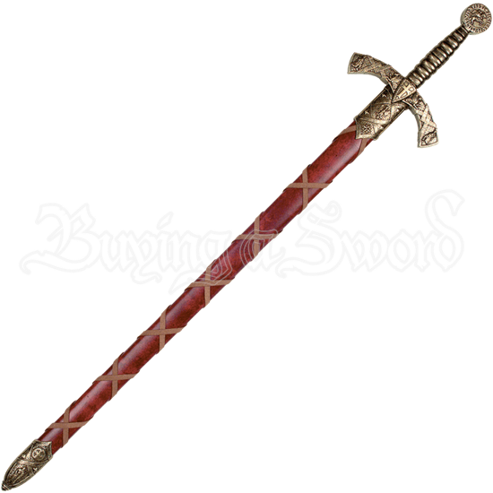 Brass Crusader Sword With Scabbard