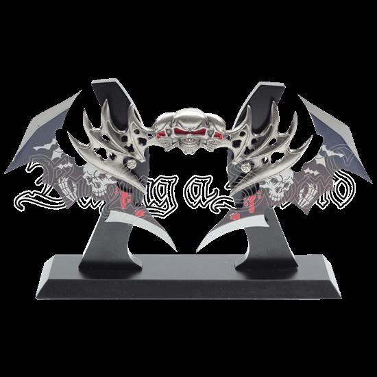 Dual Wing Blade Skull Dagger