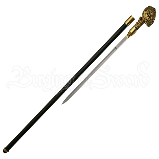 Steampunk Brass Skull Sword Cane