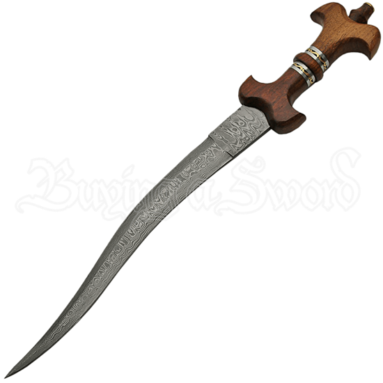 Fantasy Damascus Dagger with Wooden Sheath