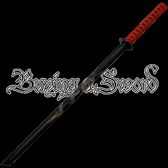 Black Engraved Dragon Bokken Sword