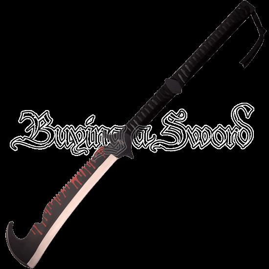 Blood Drip Hooked Fantasy Short Sword