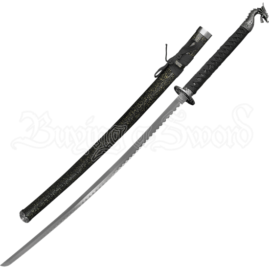 Black Handled Gray Dragon Katana