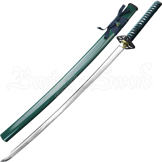 Hand Forged Samurai Sword with Green Scabbard
