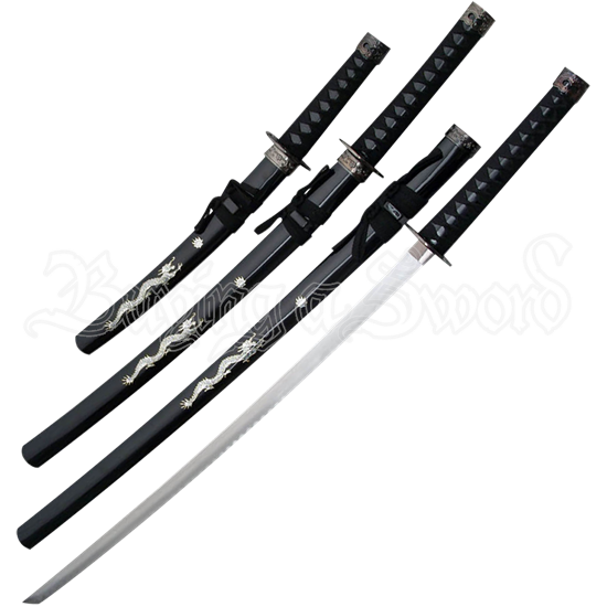 Black Pearl Dragon Japanese Sword Set