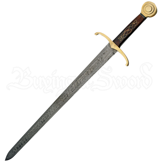Damascus and Brass Medieval Knight Sword