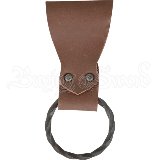Leather Frog with Handforged Twisted Ring - Brown