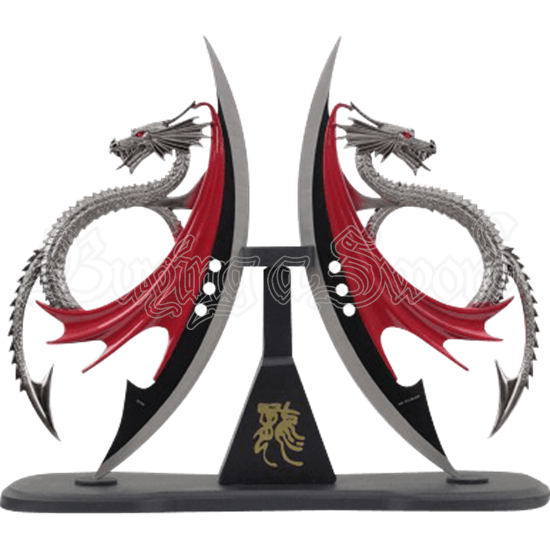 Red Winged Dragon Double Dagger Set