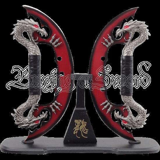 Dual Red Dragon Blades