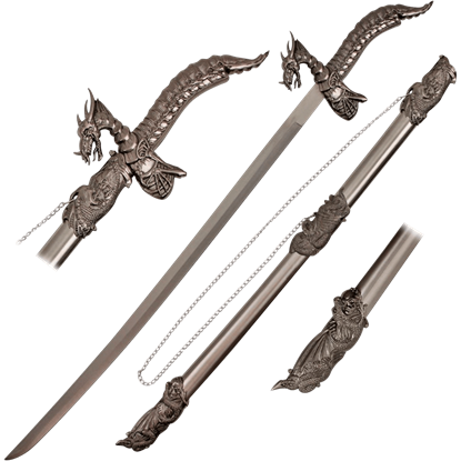 Dragon and Skull Hilt Sword with Scabbard
