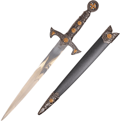 Ornate Handle Crusader Dagger with Scabbard